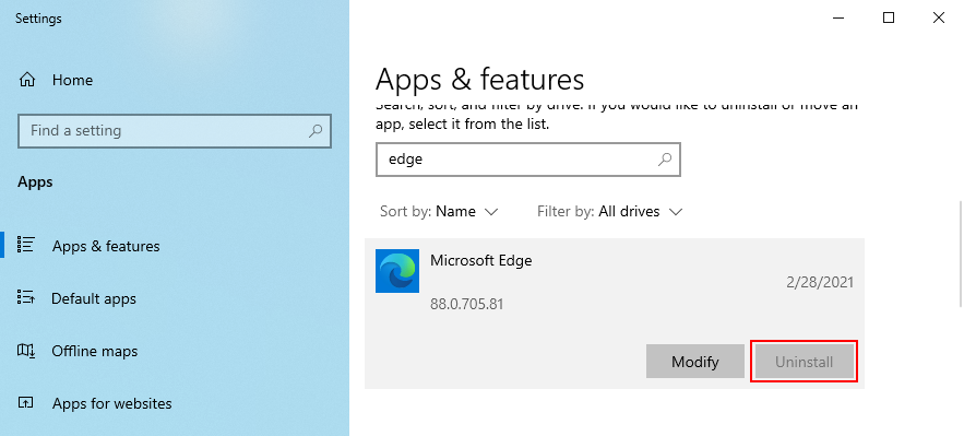The Uninstall pinch of Microsoft Verge is greyed out