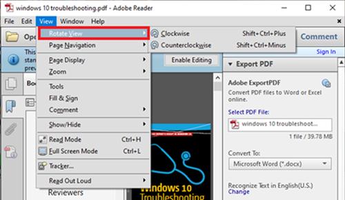 Adobe Rotate Option