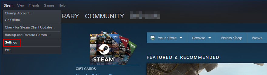 Steam shows how to access ultimo Settings menu