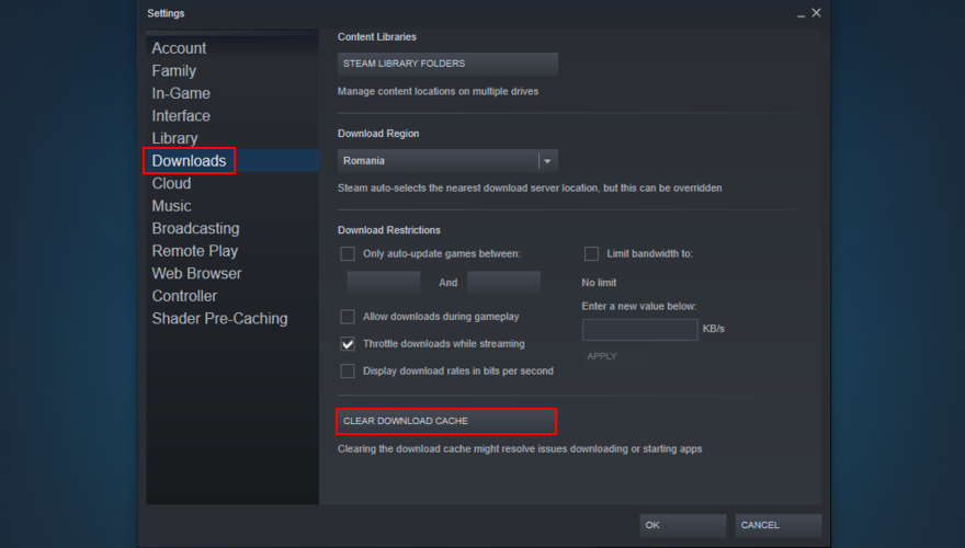 Steam shows how to canorous future download cache