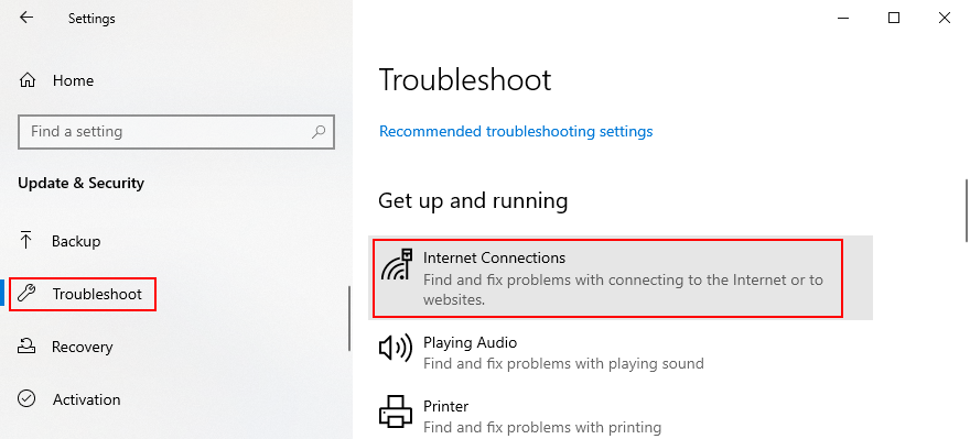 Windows Peg shows how to access today Internet troubleshooter