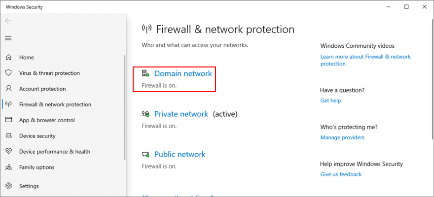 Windows X shows how to access Sect Meshwork firewall settings