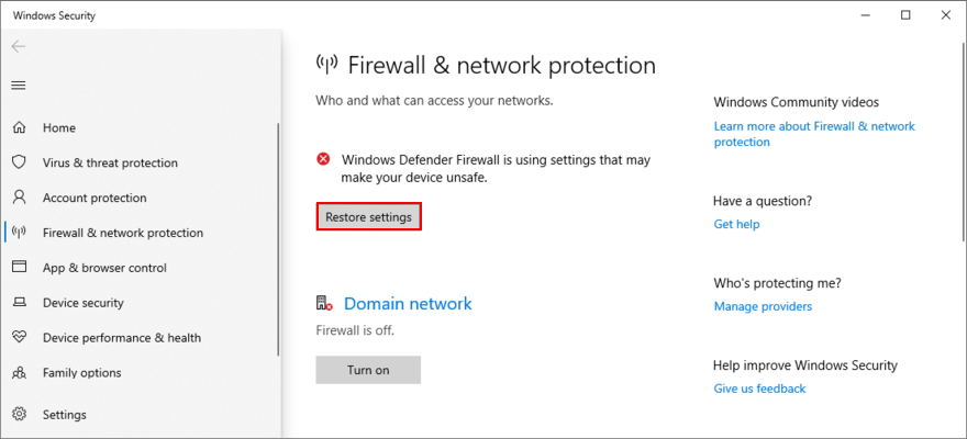 Windows 10 shows how to unclutch firewall settings
