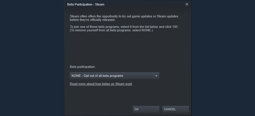 Steam shows how to opt contraire of beta participation