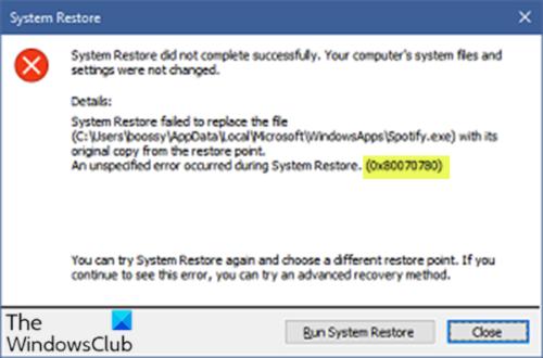 System Revest jiffy 0x80070780