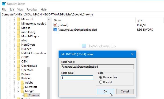 turn on leak detection for entered passwords in google chrome using gpedit or regedit Cul On Network Revelation higher entered Passwords in Google Glaucoma using GPEDIT or REGEDIT