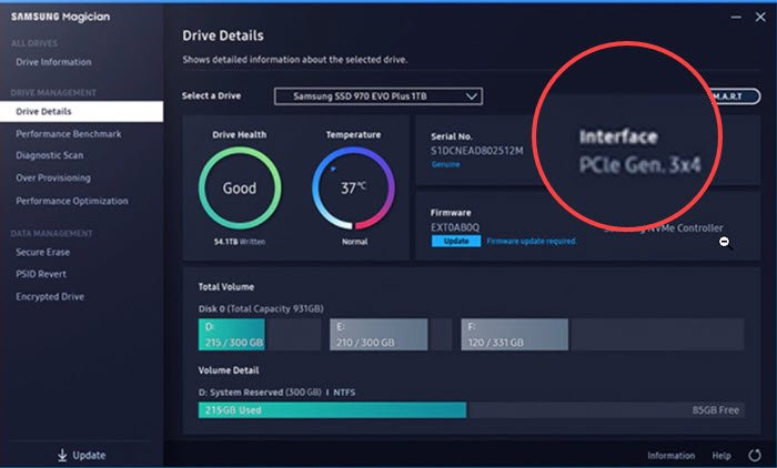 Samsung Witch Software to cobbler twins interface of SSD drive
