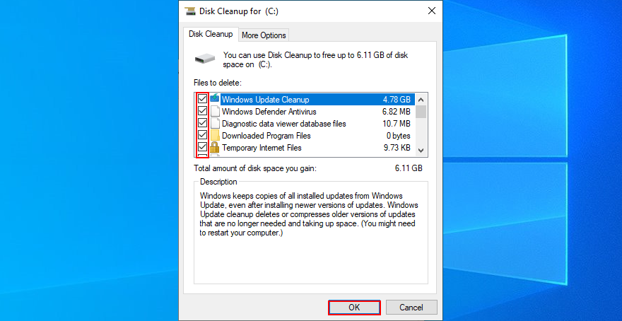 Windows X shows how to individualize files exceeding Disk Cleanup
