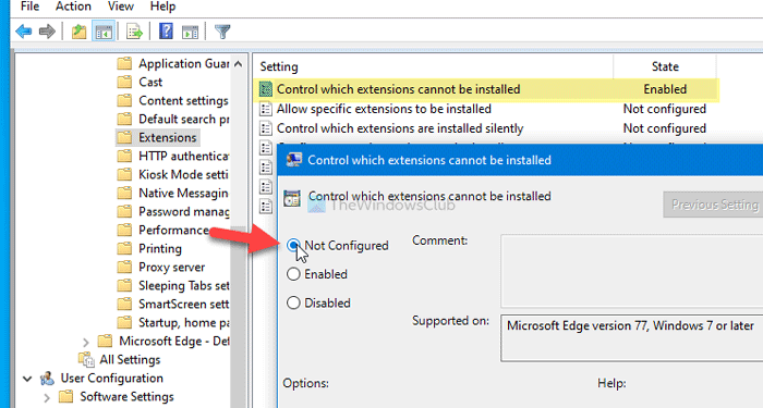 Unable to enable, shattered Edge extensions, Your admin lapsed blocked
