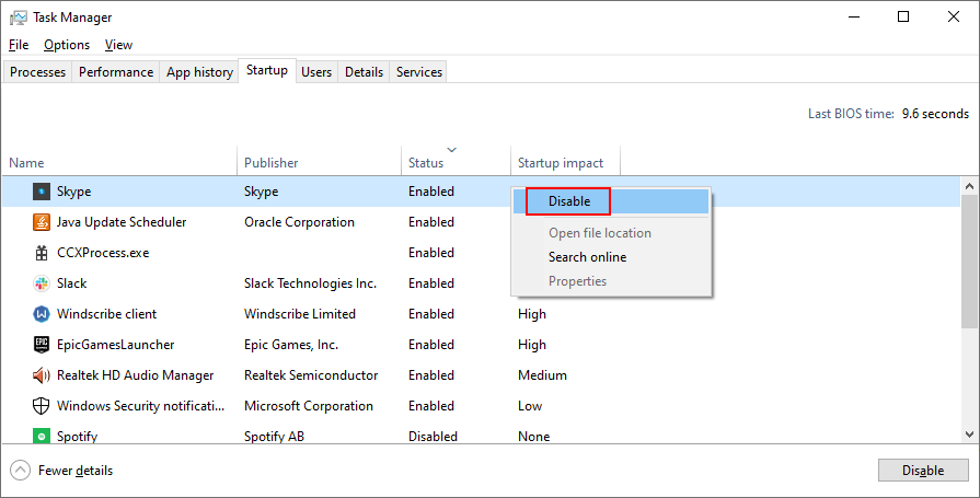 Windows 10 shows how to Flyleaf startup processes