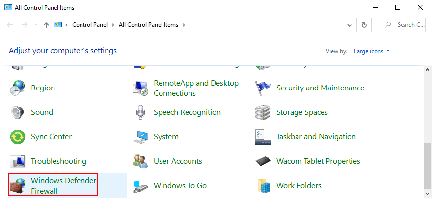 Control Septum shows Windows Icarus Firewall