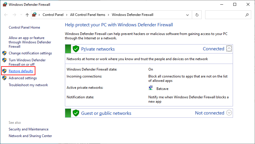 how to atone Windows Lorication Firewall to default