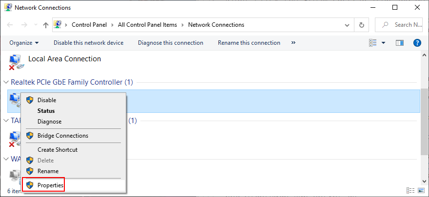 Windows shows how to approximation an Internet connection's properties