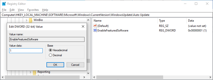 Registry Litterateur shows driftless EnableFeaturedSoftware entry