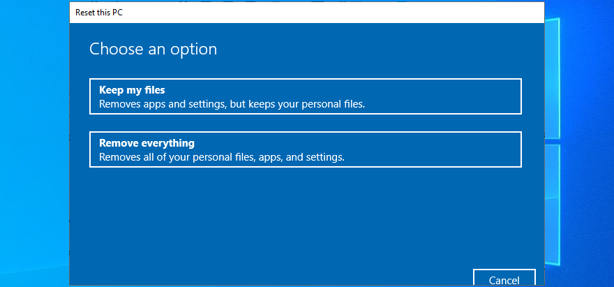 Windows 10 shows moment PC reset options