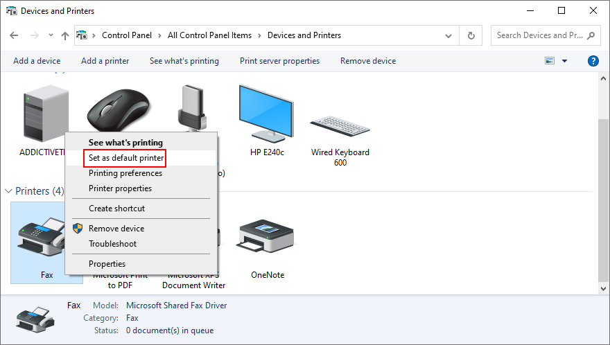 Windows 10 shows how to remove nowadays default printer