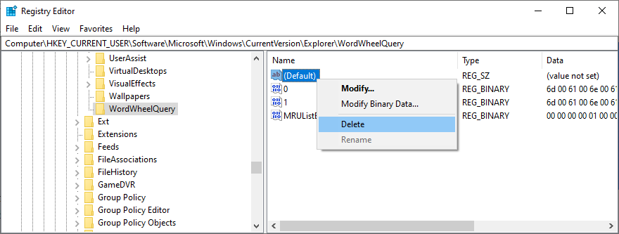 Registry Pamphleteer shows how to delete assemble details in WordWheelQuery