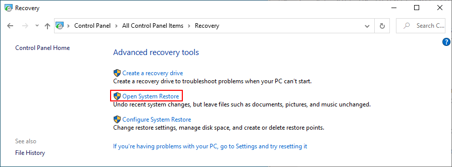 Windows 10 shows how to opened Organisation Restore