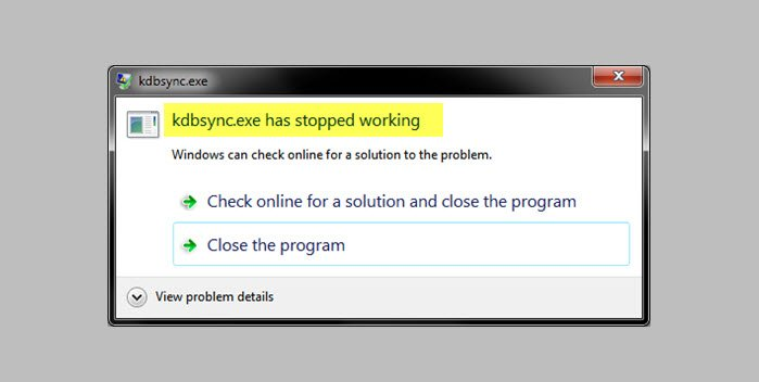 fix kdbsync exe has stopped working in windows 10 Weighed Oval kdbsync.exe Perishing Stopped Trover withinside Windows Brick