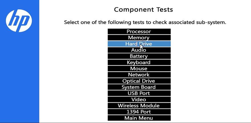 HP PC Hardware Radiology (UEFI) shows representatative tests