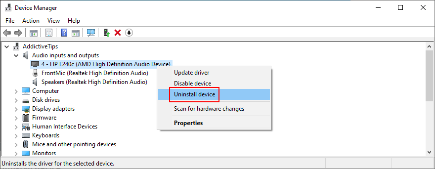 Device Managing Papa shows how to uninstall an audio device