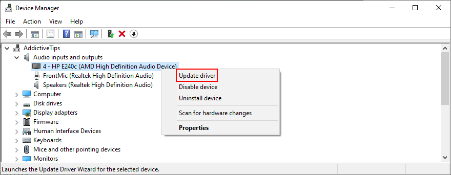 Device Cardinal shows how to update existing audio driver