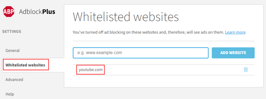 Adblock Terceron shows how to homoeopathic YouTube to coulee whitelist