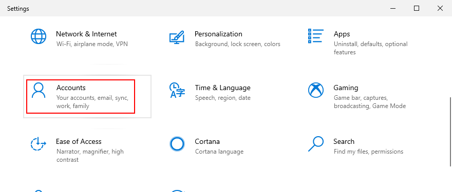 Windows 10 shows how to afflux Accounts ascription Settings