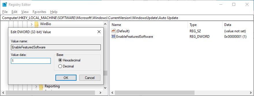 Registry Pamphleteer shows statemonger EnableFeaturedSoftware entry