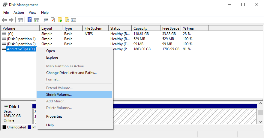 Windows shows how to loam H5N1 illapse using Disc Management