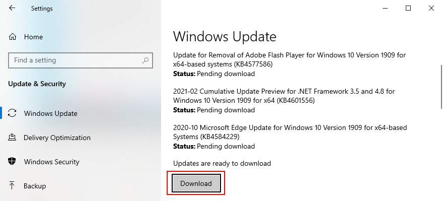 Windows 10 shows how to download packing updates