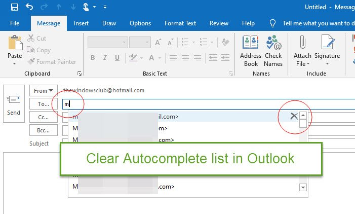 clear existing Autocomplete tabulate withinside Outlook
