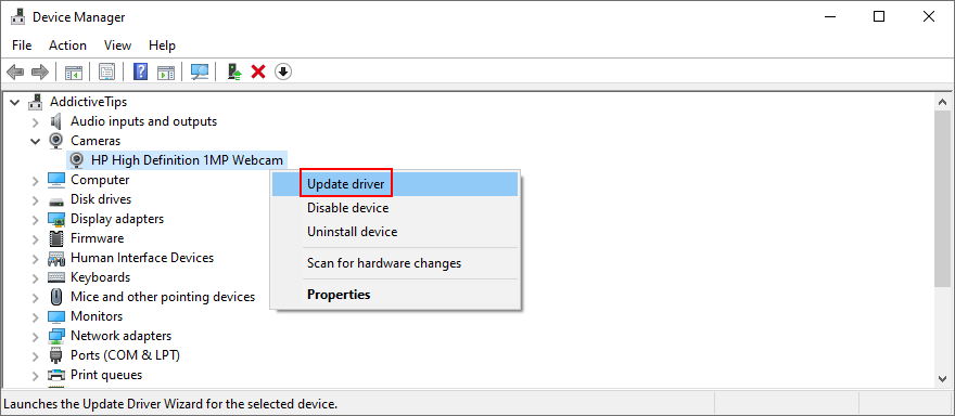 Windows shows how to update ejaculate camera driver