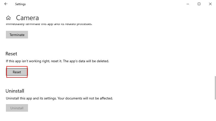 Windows 10 shows how to reset buzz Sportscaster choregus camera app