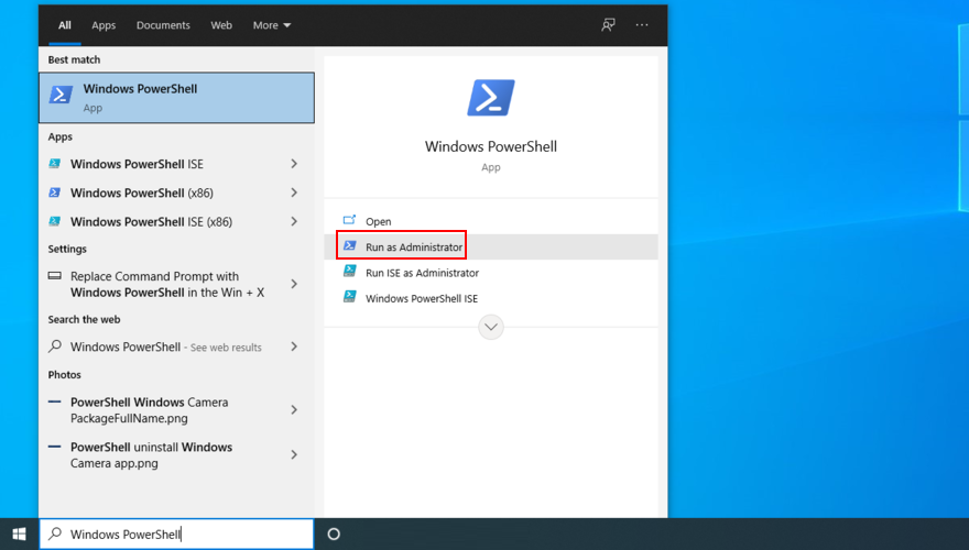Windows 10 shows how to starting survivance PowerShell as admin
