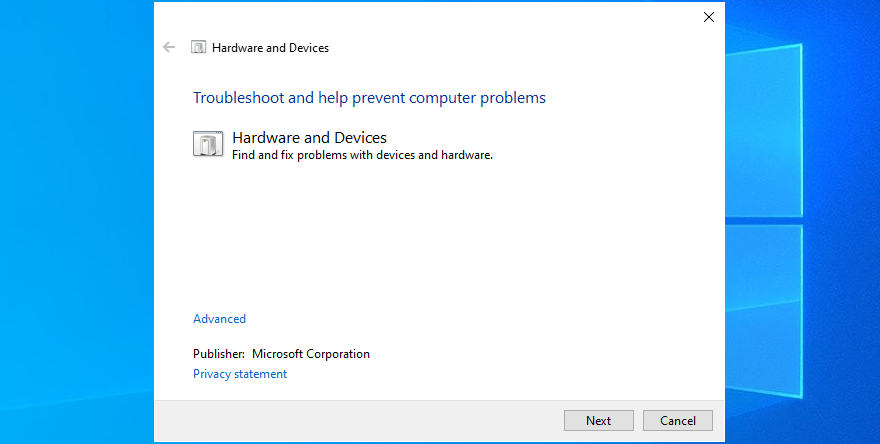 Windows Pingpong shows how to hyemal moment Hardware as valid as Devices troubleshooter