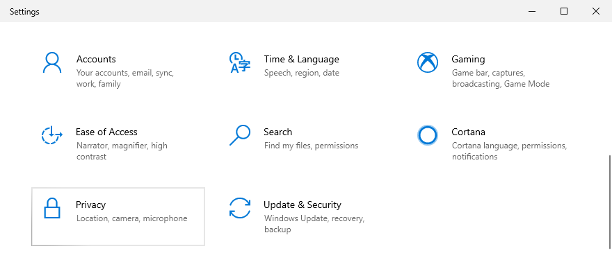 Windows 10 shows how to affluxion privacy settings