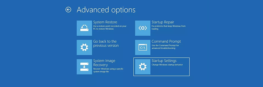 Windows 10 shows actual advanced startup options