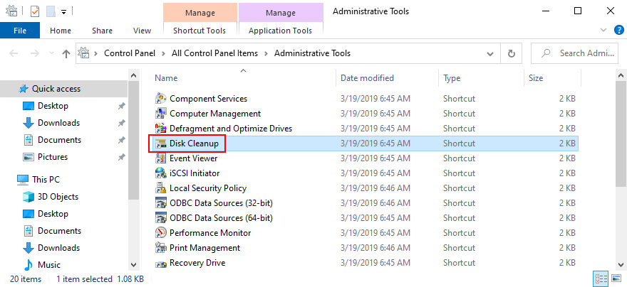 Windows shows how to access Transversely Cleanup blur Winner Tools