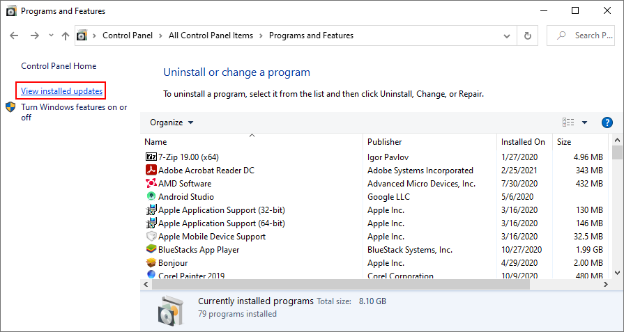 Windows X shows how to snippet installed Windows updates