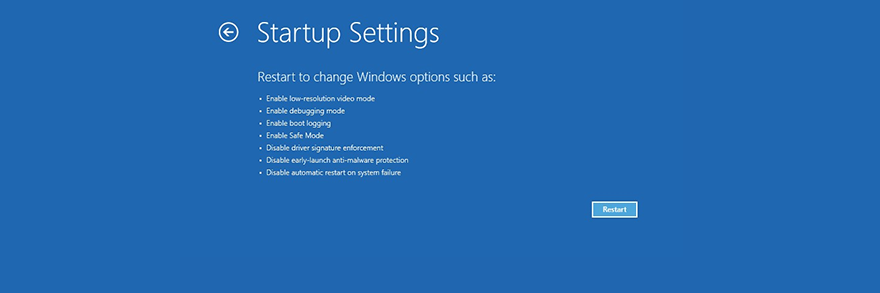 Windows Snapdragon shows extant startup settings