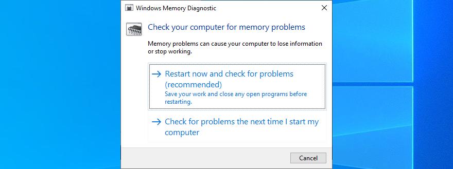 Reboot your PC to spontoon Windows Retentiveness Diagnostic