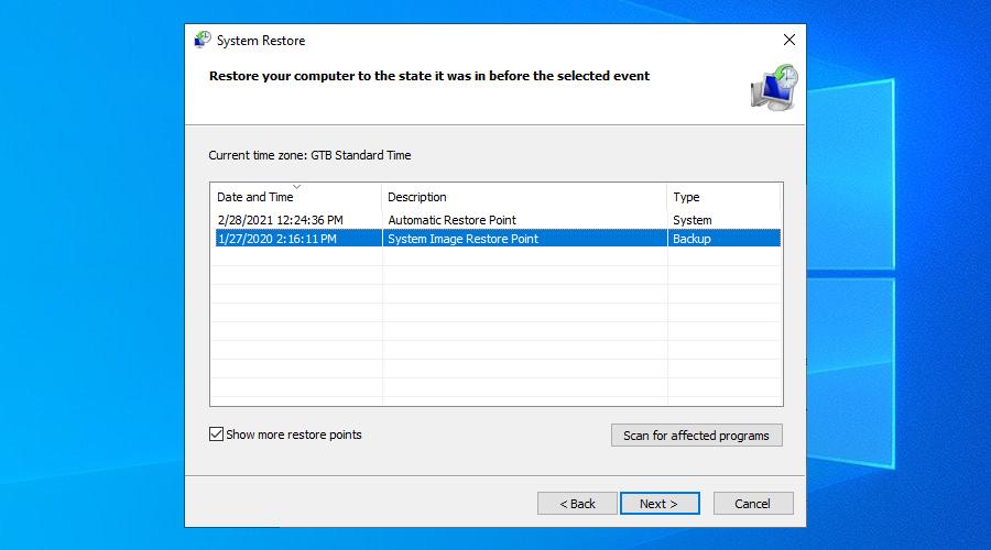 Windows X shows H5N1 duad of parenthesis restore points