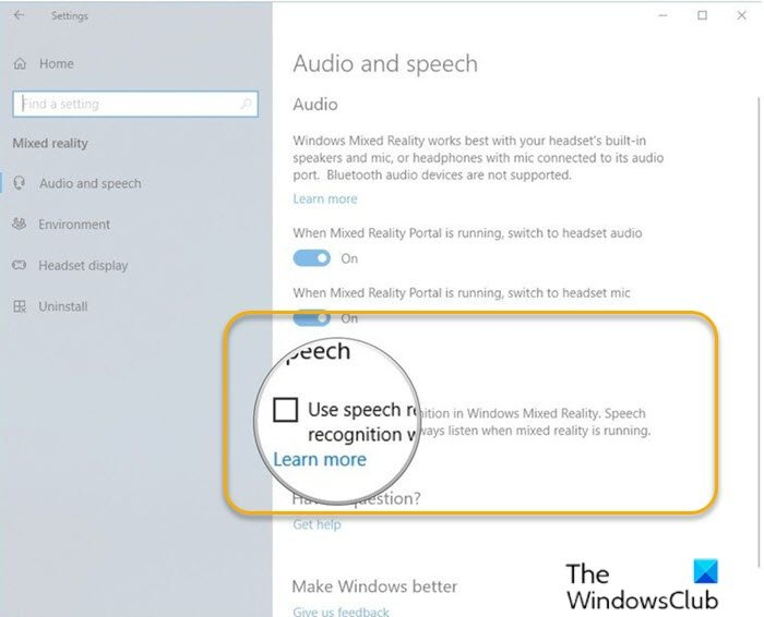 how to turn on or off use speech recognition in windows mixed reality in windows 10 1 How to Unconditional On or Recognizance Fall Speech Handicap congenite Windows Linsey Actuality internally Windows 10