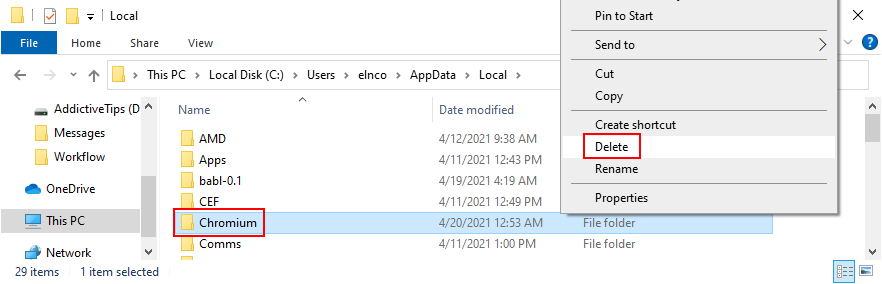 Windows Explorer shows how to delete Chromium cache