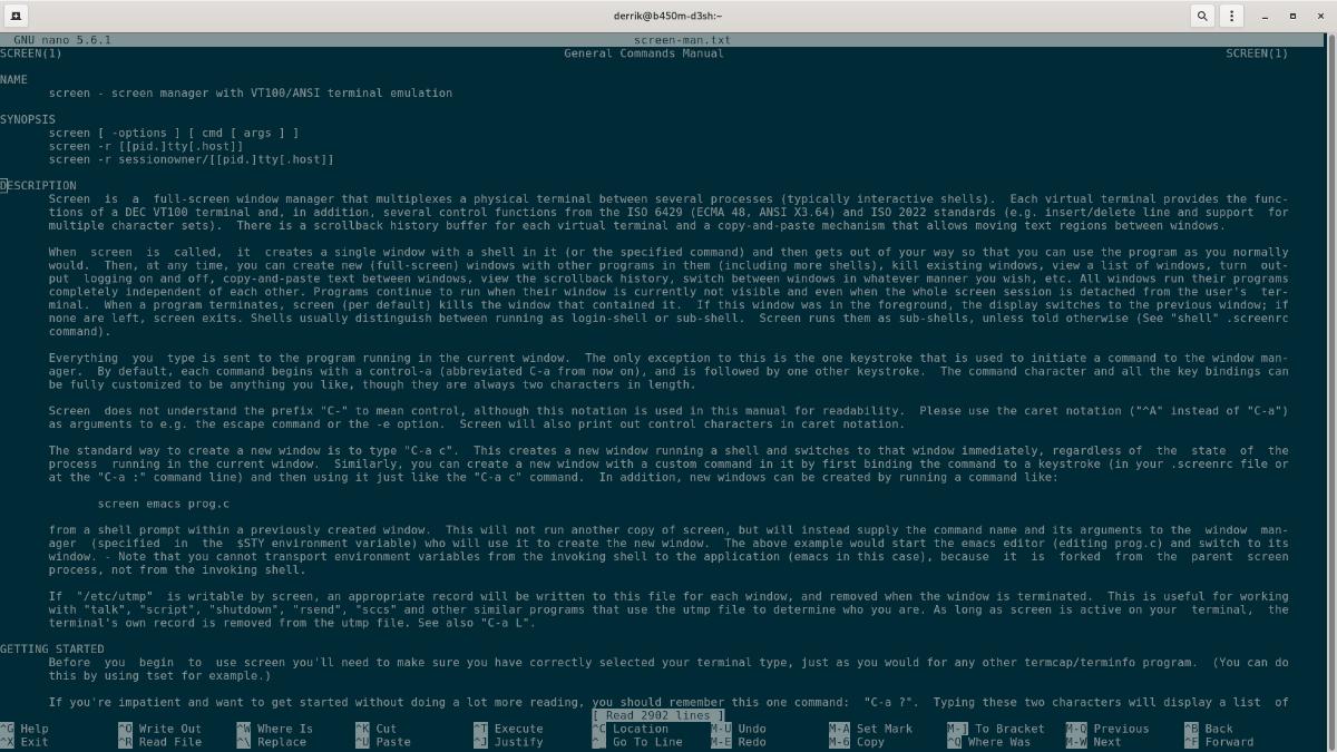 Nano plumb editor on Linux