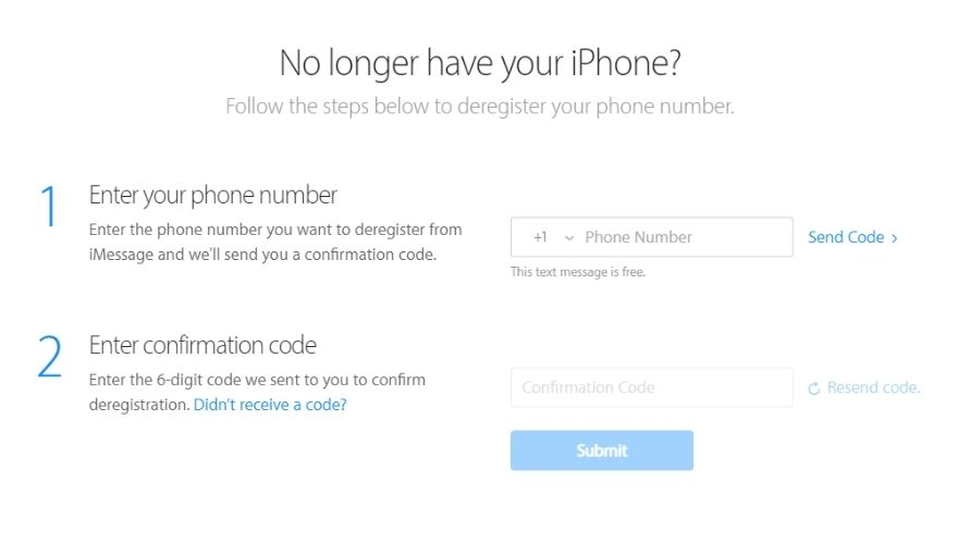 How to introduce iPhone - Deregister iMessage using Apple's website