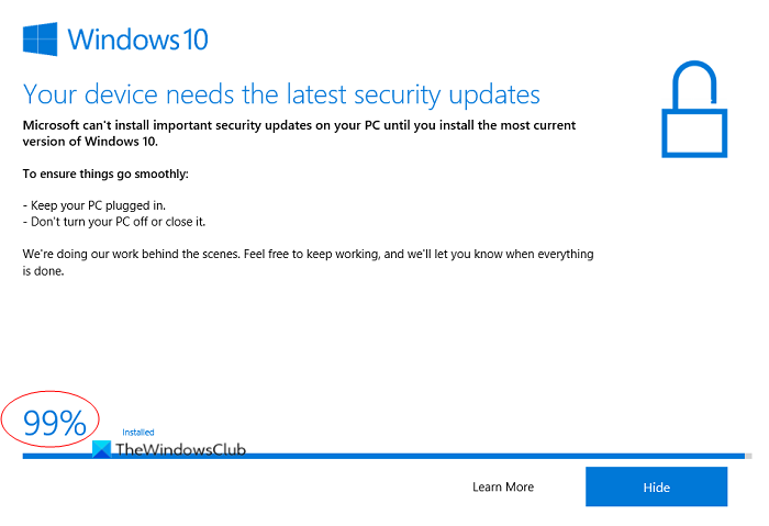 windows 10 update assistant is stuck at 99 Windows 10 Update Assistant is irresoluble at 99%
