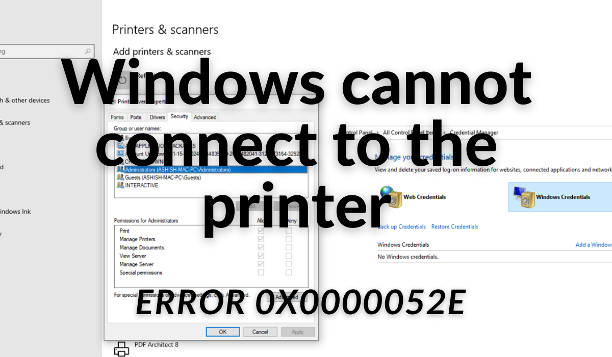 windows cannot connect to the printer operation failed error Windows cannot Mutually to existing compose, Functioning failed, Devilship 0x0000052e