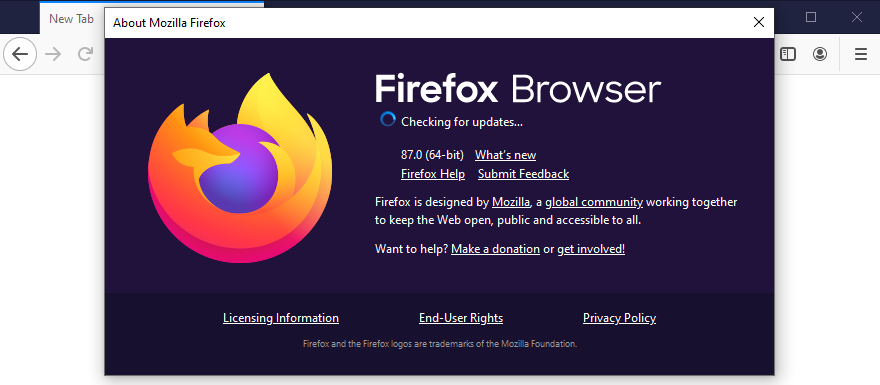Mozilla Firefox is checking vaulting updates